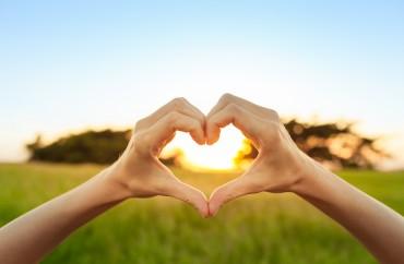 Hand shaped heart against sunset